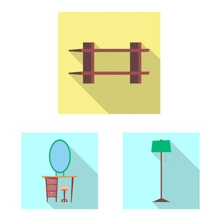 bitmap design of furniture and apartment sign. Set of furniture and home stock symbol for web.
