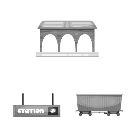 bitmap illustration of train and station icon. Set of train and ticket bitmap icon for stock.