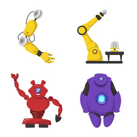 bitmap illustration of robot and factory sign. Collection of robot and space bitmap icon for stock. Stock Photo