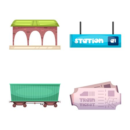 Isolated object of train and station symbol. Collection of train and ticket stock symbol for web.