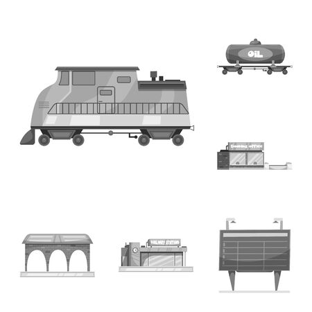 Isolated object of train and station symbol. Collection of train and ticket stock bitmap illustration.