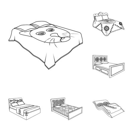 Different beds outline icons in set collection for design. Furniture for sleeping bitmap isometric symbol stock web illustration. Stock Photo