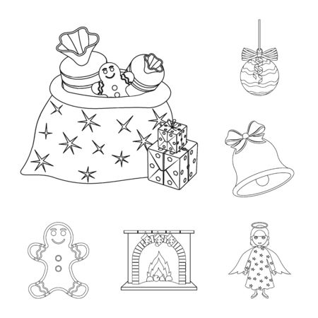 Christmas attributes and accessories outline icons in set collection for design. Merry Christmas bitmap symbol stock web illustration. Фото со стока
