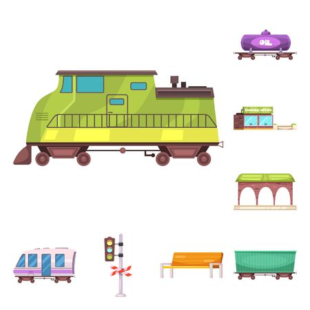 bitmap design of train and station sign. Collection of train and ticket bitmap icon for stock.