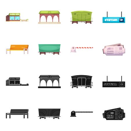 bitmap illustration of train and station icon. Collection of train and ticket bitmap icon for stock.