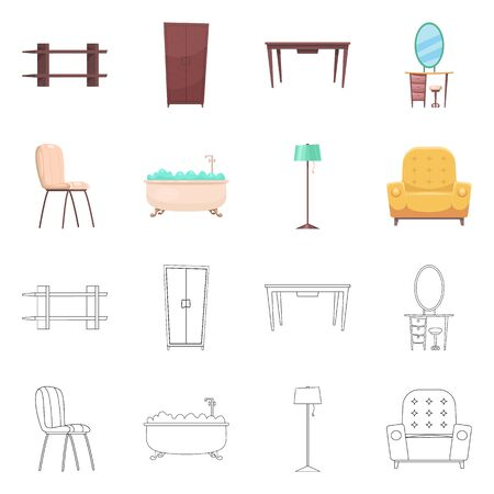 Isolated object of furniture and apartment sign. Collection of furniture and home bitmap icon for stock. Stockfoto