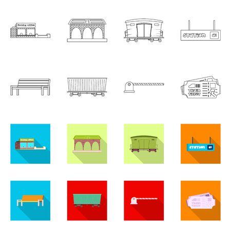 bitmap design of train and station symbol. Set of train and ticket bitmap icon for stock. Stock Photo