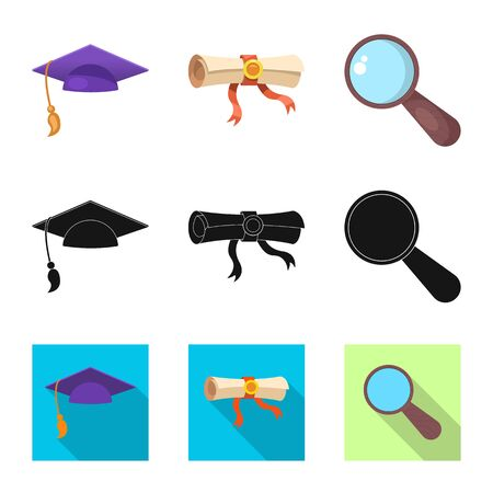 Isolated object of education and learning icon. Collection of education and school stock bitmap illustration.