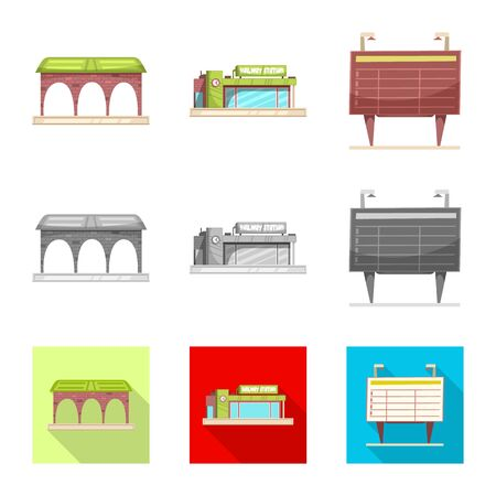 Isolated object of train and station. Set of train and ticket bitmap icon for stock. Stock Photo