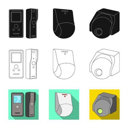 bitmap design of cctv and camera icon. Collection of cctv and system bitmap icon for stock. Stock Photo