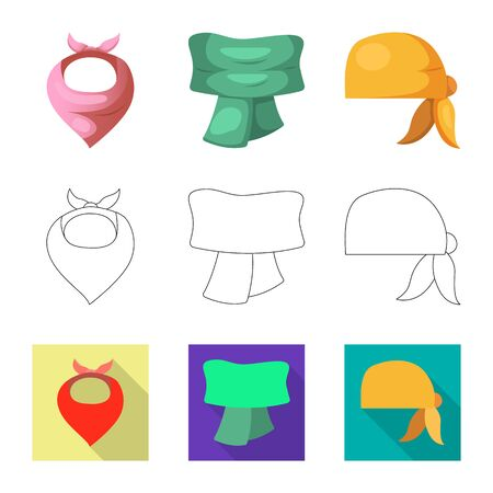 Isolated object of scarf and shawl sign. Collection of scarf and accessory stock bitmap illustration.