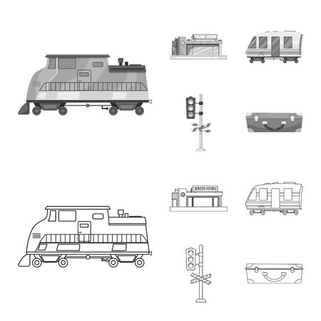 bitmap illustration of train and station icon. Collection of train and ticket stock symbol for web.