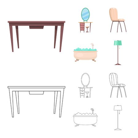 bitmap illustration of furniture and apartment sign. Set of furniture and home stock symbol for web.