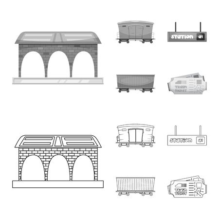 bitmap illustration of train and station sign. Collection of train and ticket stock symbol for web.
