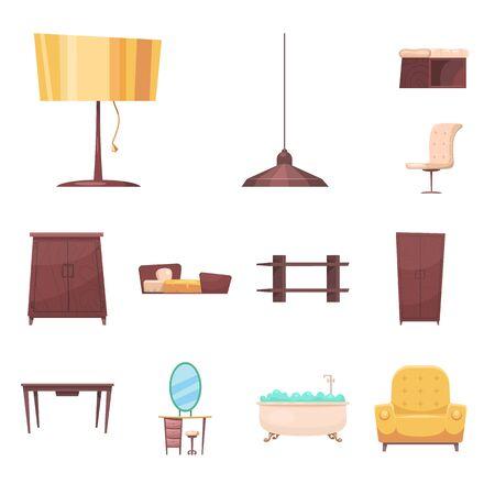 bitmap design of furniture and apartment. Set of furniture and home bitmap icon for stock.
