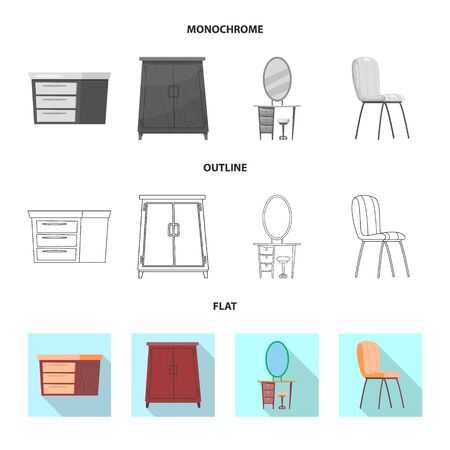 bitmap illustration of furniture and apartment. Collection of furniture and home stock bitmap illustration.