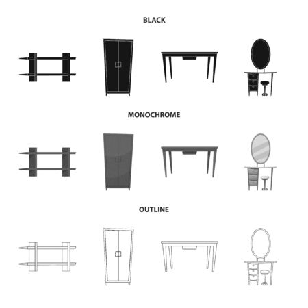 Isolated object of furniture and apartment sign. Collection of furniture and home stock bitmap illustration.