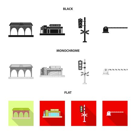 bitmap design of train and station icon. Collection of train and ticket stock bitmap illustration.