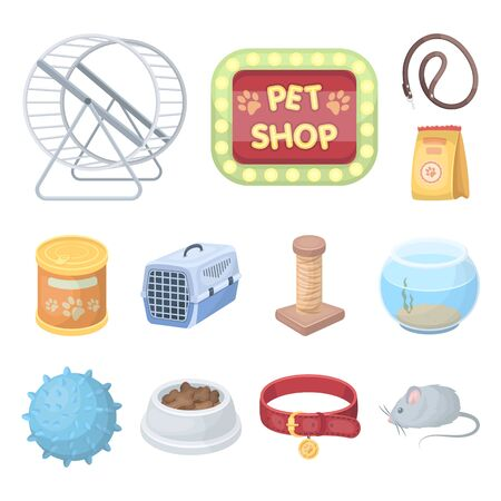 Pet shop cartoon icons in set collection for design.The goods for animals bitmap symbol stock web illustration.