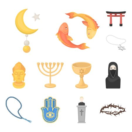 Religion and belief cartoon icons in set collection for design. Accessories, prayer bitmap symbol stock web illustration. Standard-Bild - 127090475
