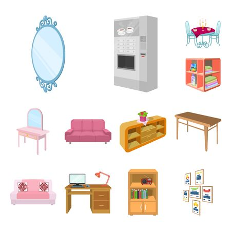 Furniture and interior cartoon icons in set collection for design. Home furnishings bitmap isometric symbol stock web illustration.