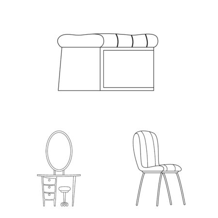 bitmap illustration of furniture and apartment icon. Collection of furniture and home stock bitmap illustration.