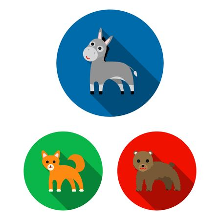 An unrealistic animal flat icons in set collection for design. Toy animals bitmap symbol stock web illustration. Stock Photo