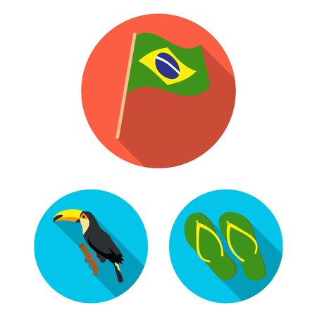 Country Brazil flat icons in set collection for design. Travel and attractions Brazil bitmap symbol stock web illustration. Banco de Imagens