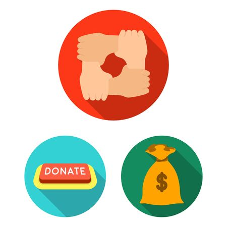 Charity and donation flat icons in set collection for design. Material aid bitmap symbol stock web illustration.