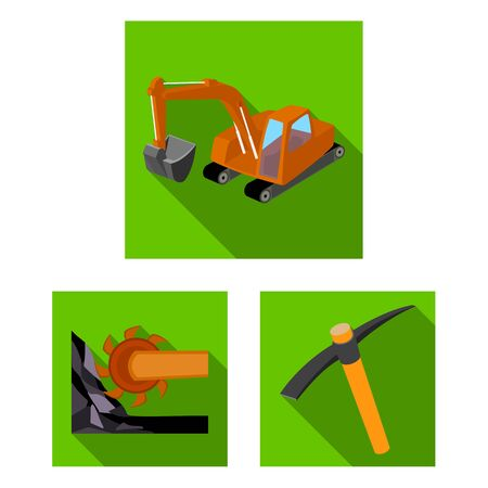Mining industry flat icons in set collection for design. Equipment and tools bitmap symbol stock web illustration. Stock fotó