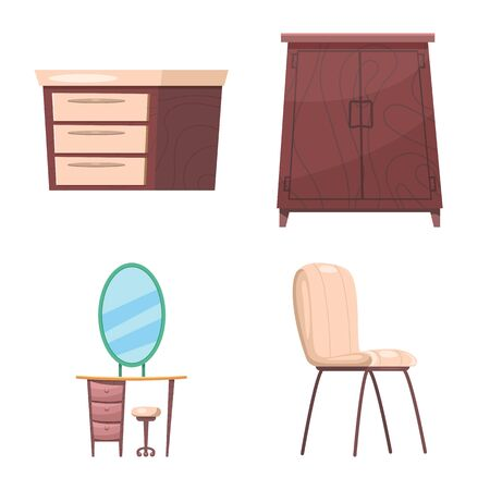 Isolated object of furniture and apartment icon. Set of furniture and home bitmap icon for stock.