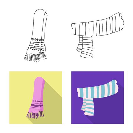 Isolated object of scarf and shawl symbol. Collection of scarf and accessory stock symbol for web.