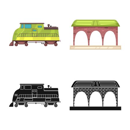 bitmap design of train and station icon. Set of train and ticket stock bitmap illustration. Stock Photo
