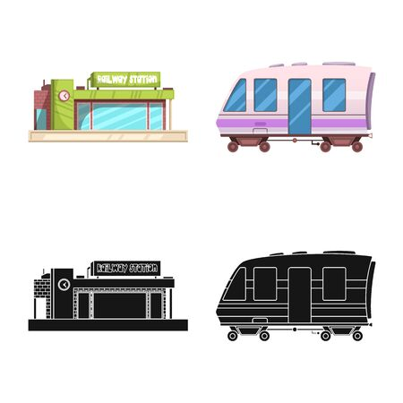 bitmap illustration of train and station sign. Set of train and ticket bitmap icon for stock.