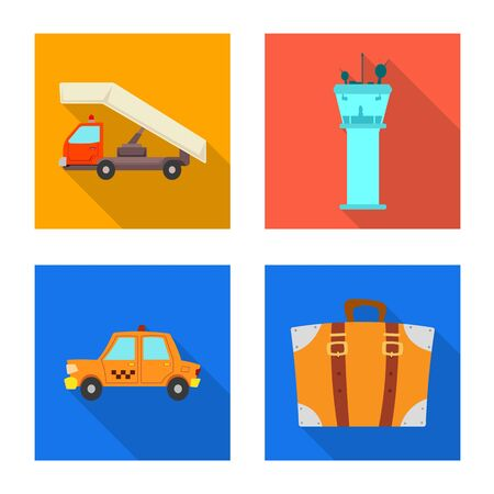 Isolated object of airport and airplane sign. Collection of airport and plane bitmap icon for stock.