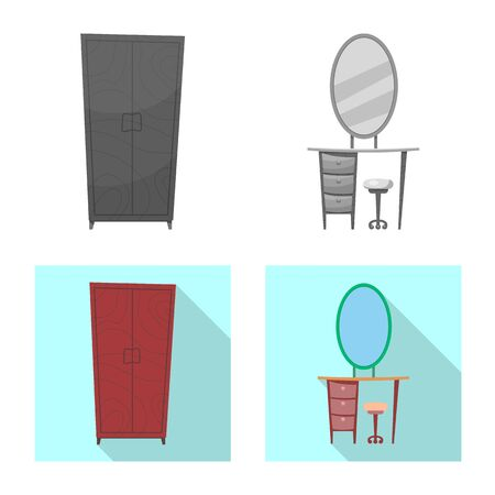 bitmap design of furniture and apartment sign. Set of furniture and home bitmap icon for stock. Stockfoto
