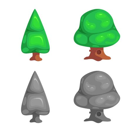 Isolated object of tree and nature icon. Collection of tree and crown bitmap icon for stock.