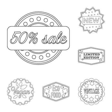 Different label outline icons in set collection for design. Index and brand bitmap symbol stock web illustration.