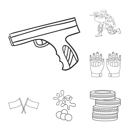 Paintball, team game outline icons in set collection for design. Equipment and outfit bitmap symbol stock web illustration. Foto de archivo - 127305921