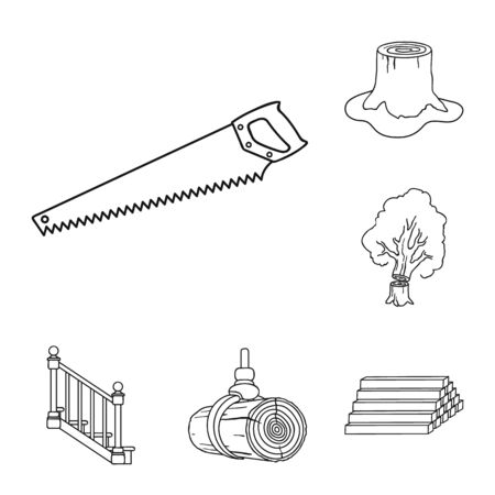 Sawmill and Timber outline icons in set collection for design. Hardware and Tools bitmap symbol stock web illustration. Reklamní fotografie