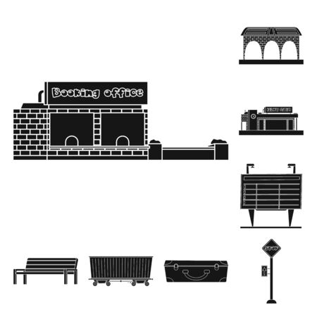 Isolated object of train and station icon. Set of train and ticket stock bitmap illustration.