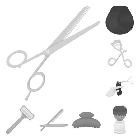 Hairdresser and tools monochrome icons in set collection for design.Profession hairdresser bitmap symbol stock web illustration.