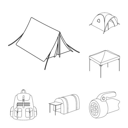 Different kinds of tents outline icons in set collection for design. Temporary shelter and housing bitmap symbol stock web illustration. Stock fotó