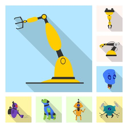 bitmap illustration of robot and factory symbol. Collection of robot and space stock symbol for web. Stock Photo