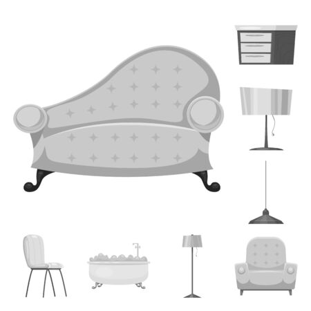 Isolated object of furniture and apartment symbol. Collection of furniture and home stock bitmap illustration. 스톡 콘텐츠 - 127306224