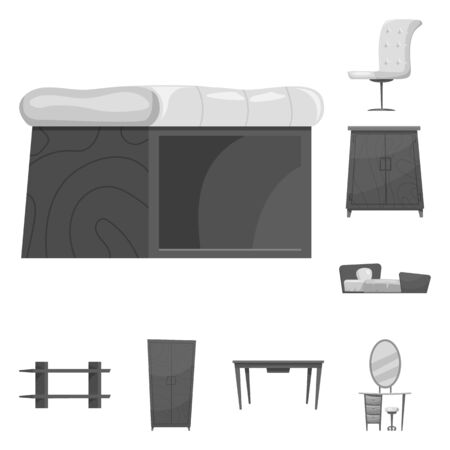 bitmap design of furniture and apartment. Collection of furniture and home stock bitmap illustration.