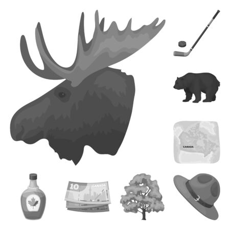Country Canada monochrome icons in set collection for design. Canada and landmark bitmap symbol stock web illustration. Imagens