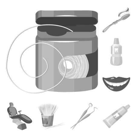 Dental care monochrome icons in set collection for design. Care of teeth bitmap symbol stock web illustration. Reklamní fotografie