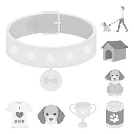 Pet dog monochrome icons in set collection for design. Caring for the puppy bitmap symbol stock web illustration. 写真素材