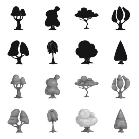 bitmap design of tree and nature icon. Set of tree and crown bitmap icon for stock.